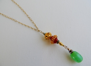 """Chrysoprase and Rubies pendant"""